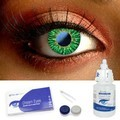 Green Funky Contact Lenses Complete Set