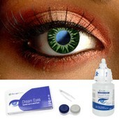 Green Shimmer Contact Lenses Complete Set
