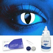 i-Glow White UV Cat Eye Contacts Complete Set