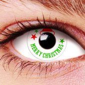 Merry Christmas Santa's Hat Contact Lenses