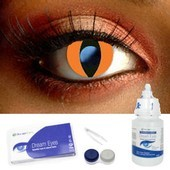 Orange Cat Eye Contact Lens Complete Set
