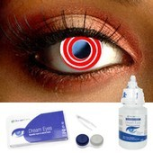 Red Spiral Contact Lenses Complete Set