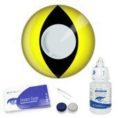 Yellow Cat Eye Contact Lens Complete Set