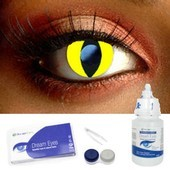 Yellow Cat Eye Contacts Complete Set