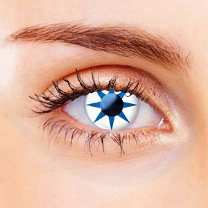 Blue & White Star Contact Lenses