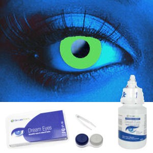 Green UV Contact Lens Complete Set