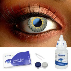 Grey 3 Tone Funky Contact Lenses Complete Set