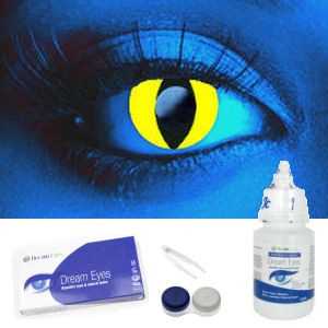 i-Glow Yellow UV Cat Eye Contacts Complete Set