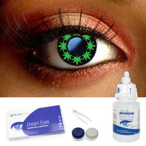 Multi Cannabis Leaf Contact Lenses Complete Set